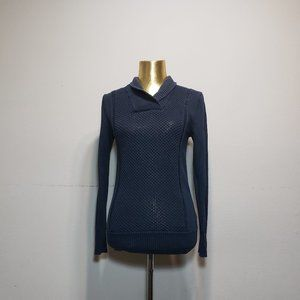 H&M Navy Blue Collared Knit Sweater